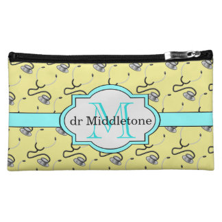 Funny stethoscopes for doctors on yellow name cosmetic bag
