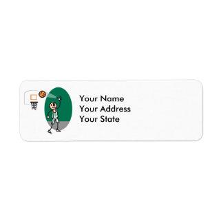 funny stick figure playing basketball return address label