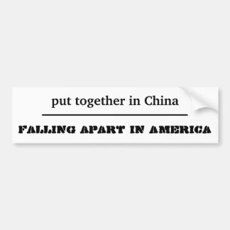 funny sticker falling apart in America Bumper Sticker