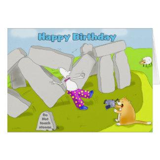 Funny stonehenge happy birthday greeting card