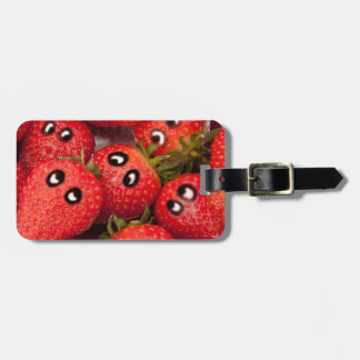 Funny strawberries. luggage tag
