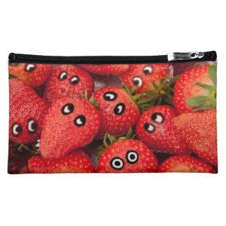 Funny strawberries. makeup bags