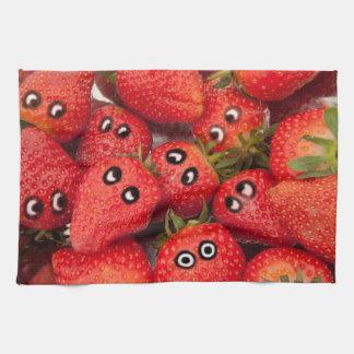 Funny strawberries. tea towel