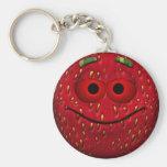 Funny Strawberry Smiley Basic Round Button Key Ring