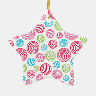 Funny Striped Candies in pastel colors: blue, pink Ceramic Star Decoration