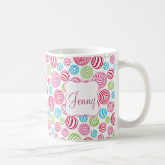 Funny Striped Candies in pastel colors personalize Coffee Mug