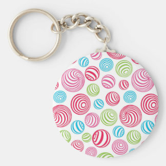 Funny Striped Christmas Candies in pastel colors Basic Round Button Key Ring