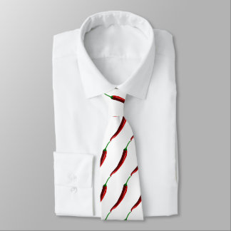 Funny striped hot chili peppers for cooks tie