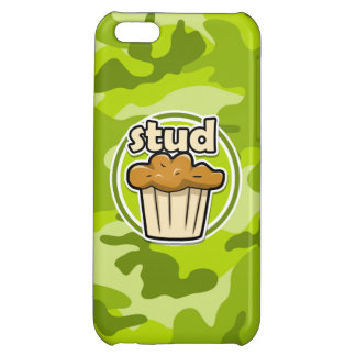 Funny Stud Muffin on green camo Cover For iPhone 5C