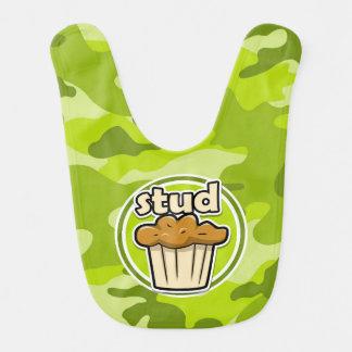 Funny Stud Muffin on green camo Baby Bibs