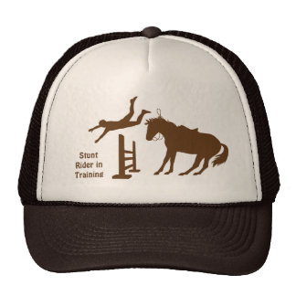 Funny Stunt Horse Rider In Training Cap