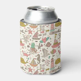 Funny Summer Pattern With Ships Can Cooler