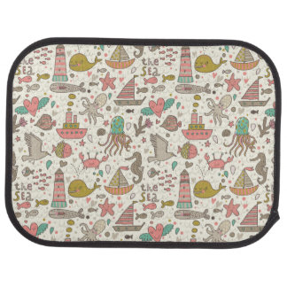 Funny Summer Pattern With Ships Car Mat