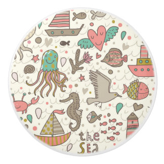 Funny Summer Pattern With Ships Ceramic Knob