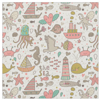 Funny Summer Pattern With Ships Fabric