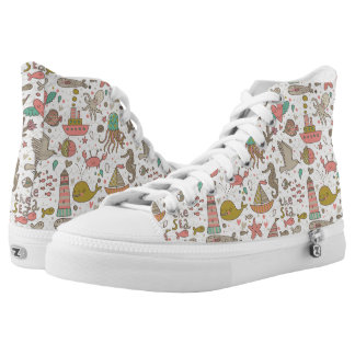 Funny Summer Pattern With Ships High Tops