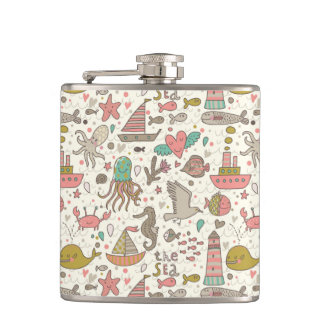 Funny Summer Pattern With Ships Hip Flask