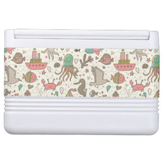 Funny Summer Pattern With Ships Igloo Cooler