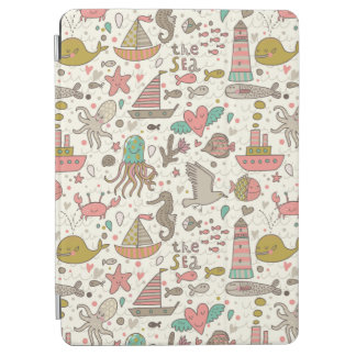 Funny Summer Pattern With Ships iPad Air Cover