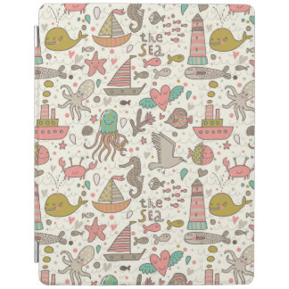 Funny Summer Pattern With Ships iPad Cover