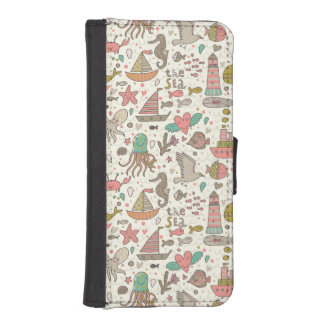 Funny Summer Pattern With Ships iPhone SE/5/5s Wallet Case