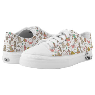 Funny Summer Pattern With Ships Low Tops