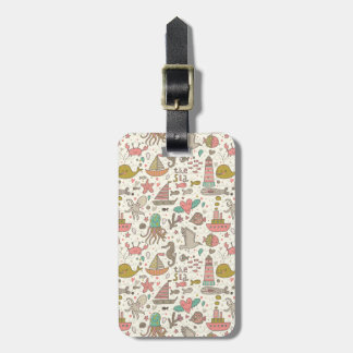 Funny Summer Pattern With Ships Luggage Tag