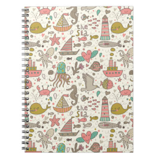 Funny Summer Pattern With Ships Notebook