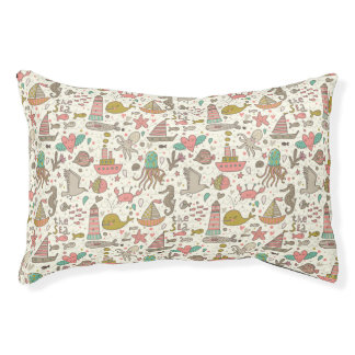 Funny Summer Pattern With Ships Pet Bed