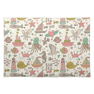 Funny Summer Pattern With Ships Placemat