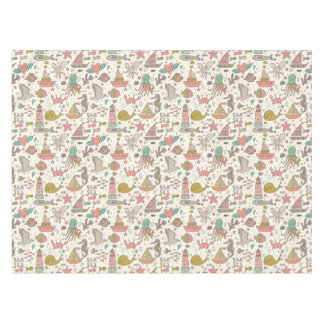Funny Summer Pattern With Ships Tablecloth