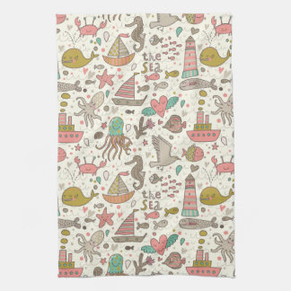 Funny Summer Pattern With Ships Tea Towel