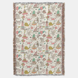 Funny Summer Pattern With Ships Throw Blanket