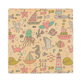 Funny Summer Pattern With Ships Wood Coaster