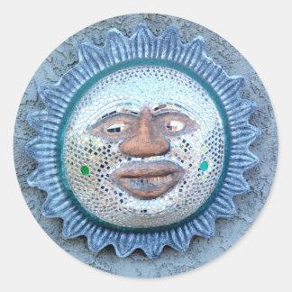 funny sun face sticker