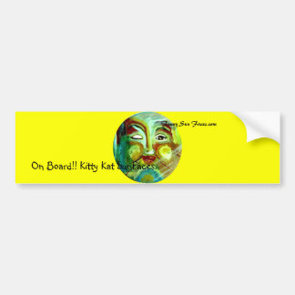 Funny Sun Faces, Kitty Kat Bumper Sticker