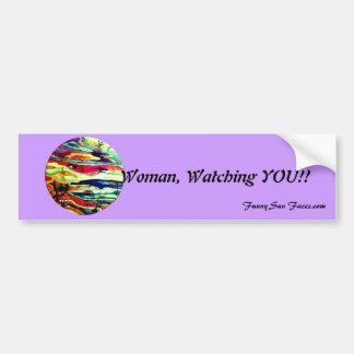 Funny Sun Faces, Woman Watching You Bumper Sticker