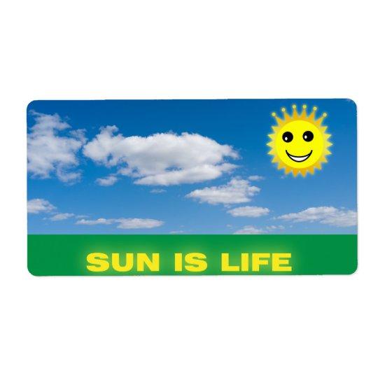 Funny sun shipping label