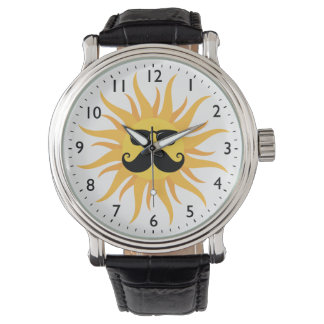 Funny sun with mustache and glasses watches