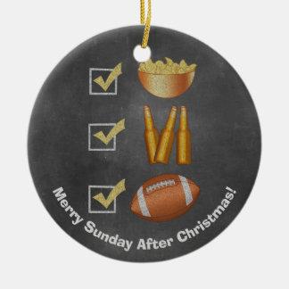 Funny Sunday Football Checklist Christmas Ornament