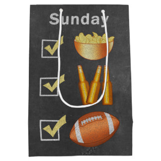 Funny Sunday Football Checklist Medium Gift Bag