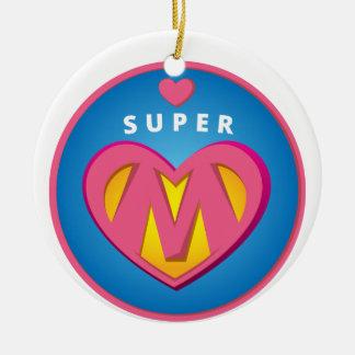 Funny Superhero Superwoman Mom emblem Christmas Ornament