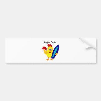 Funny Surfer Dude Rooster Cartoon Bumper Sticker