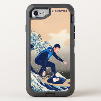 Funny Surfer Surfing On The Hokusai Great Wave OtterBox Defender iPhone 7 Case