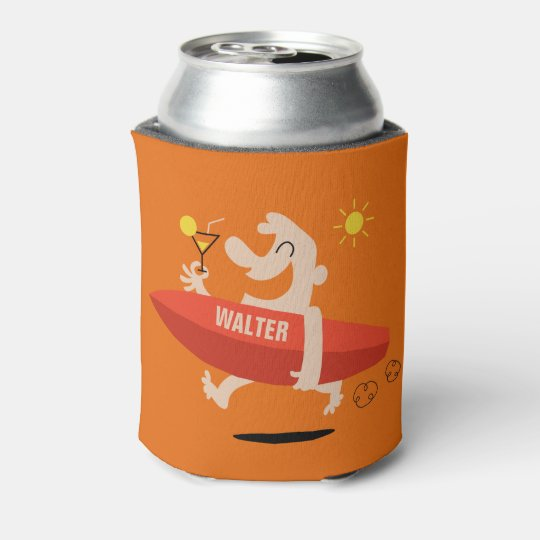 Funny Surfer with Cocktail custom name can cooler