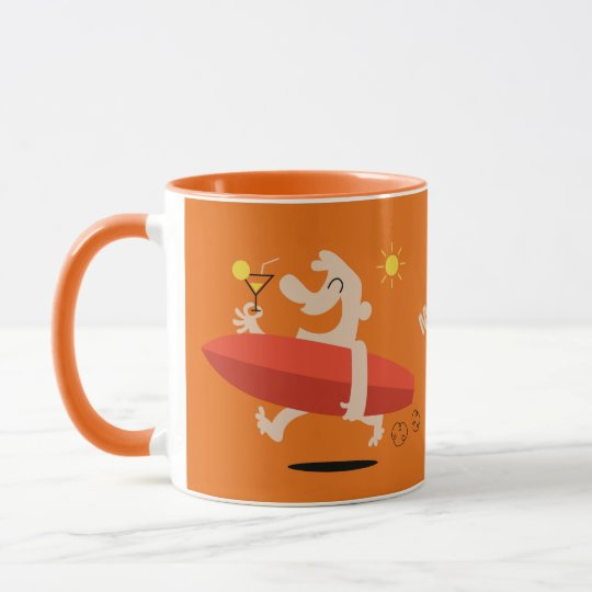 Funny Surfer with Cocktail custom name mugs