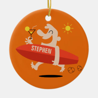 Funny Surfer with Cocktail custom name ornament