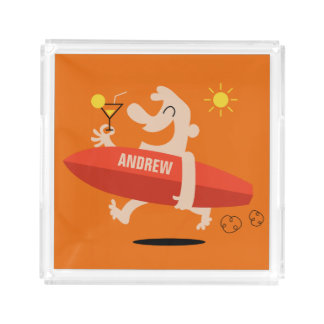 Funny Surfer with Cocktail custom name trays