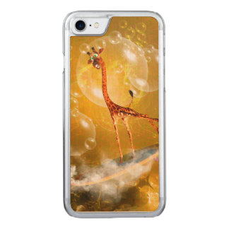 Funny surfing giraffe carved iPhone 8/7 case