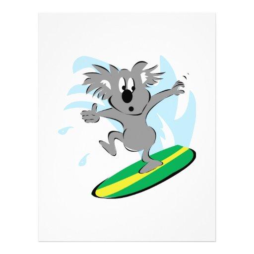 funny surfing koala bear flyer design